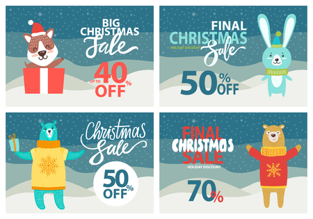 Christmas sale up to 40 off vector illustration. Çizim
