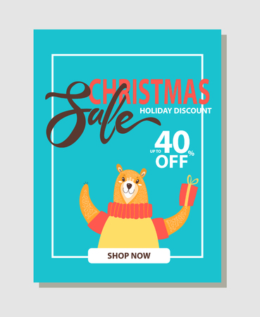 Shop now, Christmas sale up to 40 off, image of bear holding present with bow in its paw and lettering placed in white frame on vector illustration Ilustração