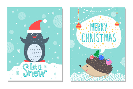 Let snow greeting Christmas card penguin hedgehog. 向量圖像
