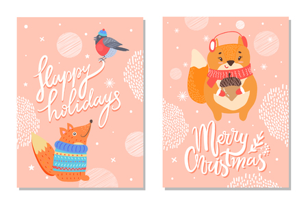 Happy holidays greeting card with squirrels acorn. Illustration