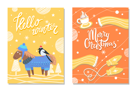 Merry Christmas winter postcards donkey and cloth. Banco de Imagens - 99660193