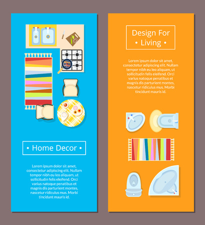 Home decor design for living vector illustration. Ilustracja