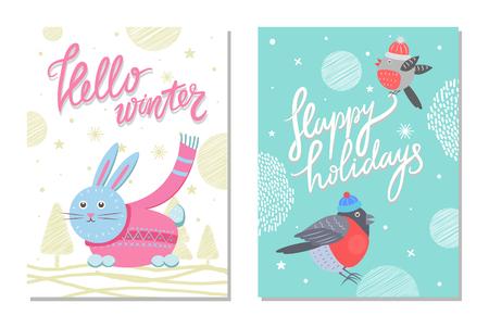 Prettige kerstdagen en Happy Holidays 70s briefkaart Stock Illustratie
