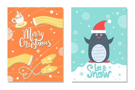 Merry Christmas Winter Postcard Warm Cloth Penguin