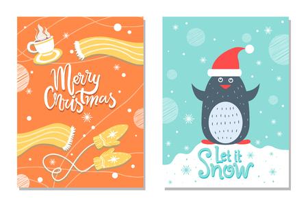 Merry Christmas Winter Postcard Warm Cloth Penguin