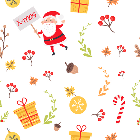 Seamless Pattern with Santa, Christmas Decorations