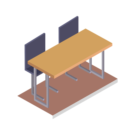 School Desk with Chairs Three Dimensional Vector Illustration