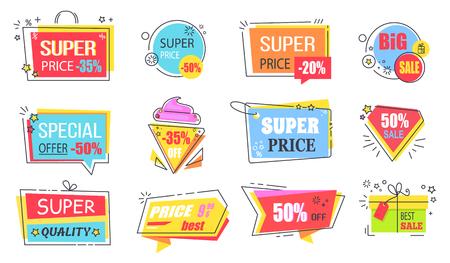 Super Price Reduction Advertisement Emblems Set
