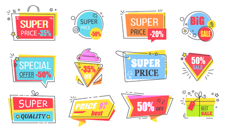Super price reduction advertisement emblems set. Creative discount logotypes in shape of bright ice cream, gift box and diamond vector illustrations. Stock Photo