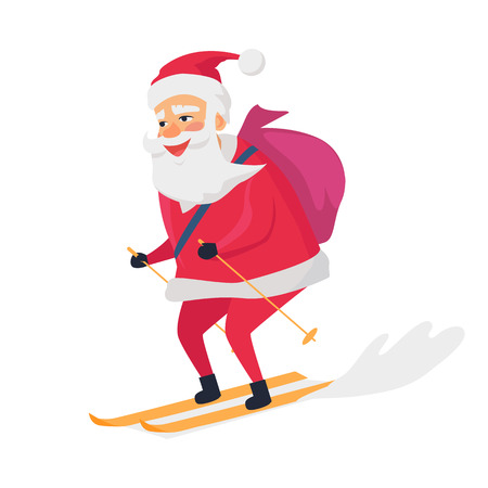 Skiing Happy Santa Clous on White Background