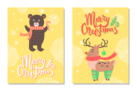 Merry Christmas Postcard with Cute Deer Profile