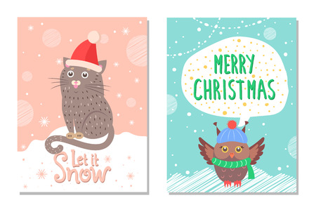 Let it snow merry Christmas colorful 60s postcard with animals dressed in warm knitted clothes. Vector illustration with owl and cat sitting on snow