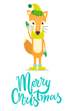 Merry Christmas greeting card with red fox in warm hat, cozy scarf, wool mittens and comfortable winter boots isolated vector animal with big fluffy tail. Illustration