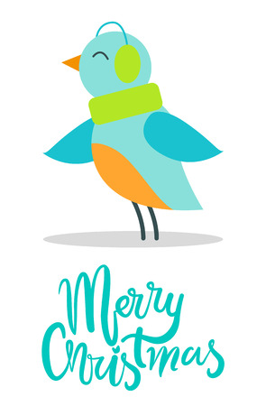 Merry Christmas Greeting Card Tiny Bird Earpieces