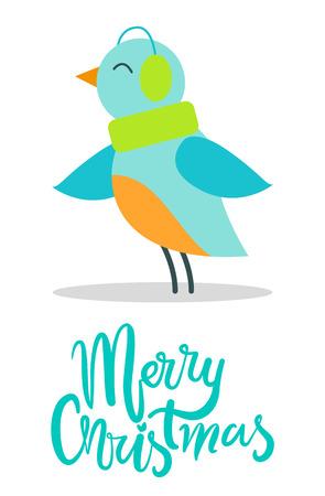Merry Christmas Greeting Card Tiny Bird Earpieces