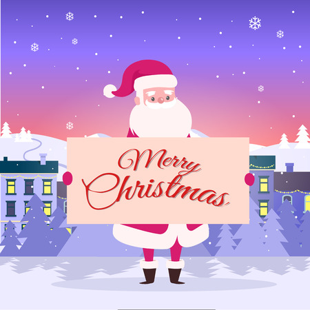 Merry Christmas from Santa on city background. He holds poster with congratulation among white snowy field. Big snowflakes fall on houses. Buildings are with switched light on vector illustration Stock Illustratie