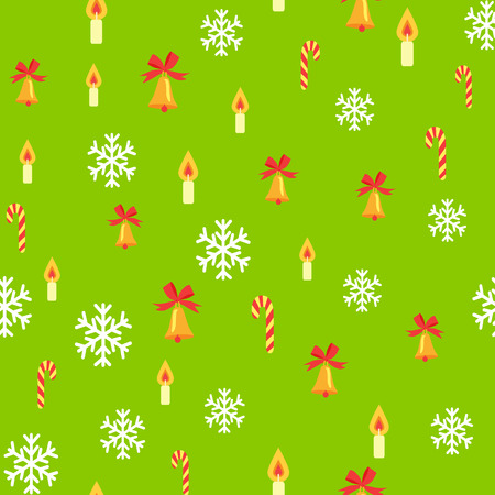 Seamless Pattern with Jingle Bells and Snowflakes
