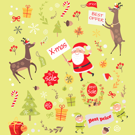 Seamless Pattern with Christmas Elves, Santa Claus Illustration