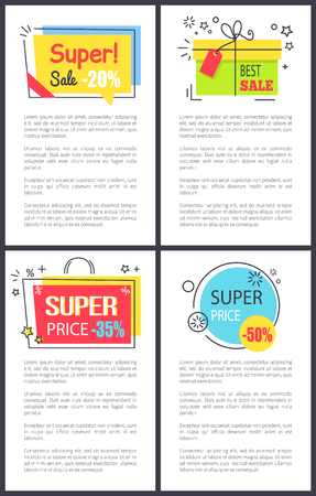 Super sale and price -50 , labels reminding present and bag, decorated with stars as sign of quality, and text sample on vector illustration Çizim