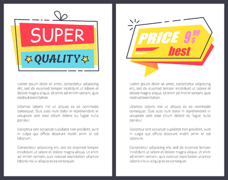 Best price for goods of super quality promotional posters with sample text and huge attractive signs and convenient price vector illustrations.