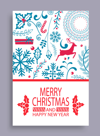 Marry Christmas and Happy New Year Bright Postcard Banque d'images