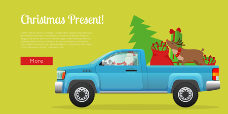 Christmas present web banner. Santa Claus driving pickup loaded with Christmas tree, sack full of gifts and reindeer flat vector illustration. Horizontal concept for winter holiday sale promotions  Illustration