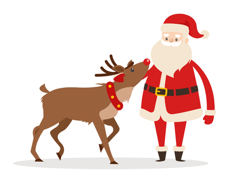 Reindeer and Santa isolated on white. Santa strokes his friend head. Saint Nicolas favourite pet. Brown deer and fairy character in cartoon style. Editable elements in flat design vector illustration Иллюстрация