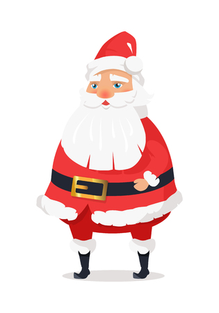 Isolated standing Santa Claus on white background. Vector illustration of old man with long beard worn in red warm coat trousers, soft hat, black boots wide belt. Element of holiday decor for shops