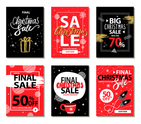 Shop now on Christmas holiday, set of promotional banners including titles icons of present and cup, mittens and frames, images on vector illustration Illustration