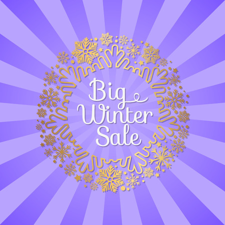 Big winter sale inscription in ornamental frame made of gold snowflakes and decor elements vector illustration banner with text isolated on purple rays Illustration