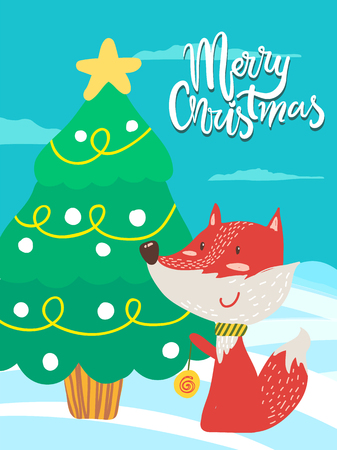Merry Christmas poster congratulation from fox playing yo-yo near decorated xmas tree outdoors. Vector smiling animal with colorful toy on greeting card