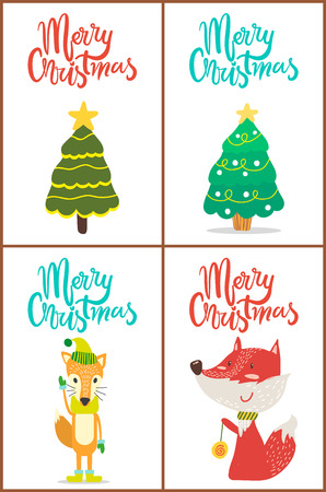 Merry Christmas, trees with decorations such as balls, stars and garlands, and foxes wearing hat and scarves and playing with toy vector illustration