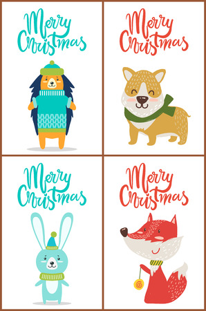 Merry Christmas set of posters with funny animals dressed in sweaters and funny hats. Vector illustration with friendly dog, fox and hare on white background Illustration
