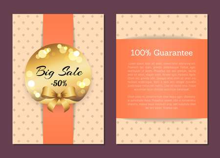 100 Guarantee Sale Cover Front Back Page Label Stock Photo