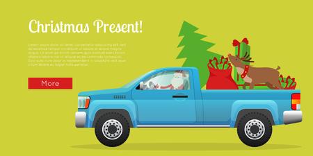 Christmas Present Web Banner with Santa on Pickup