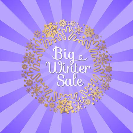 Big Winter Sale Inscription Gold Ornamental Frame