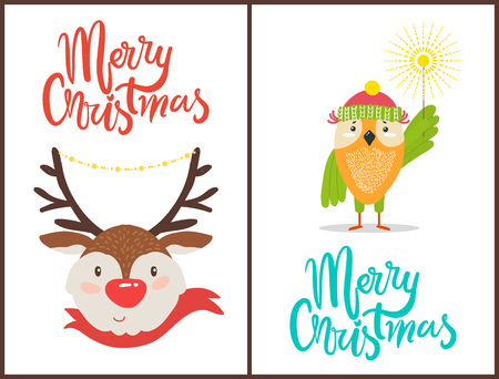 Merry Christmas Banners with Friendly Animals