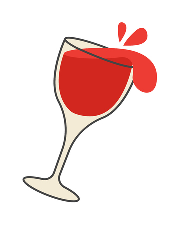 Red Wine Pours Out of Overturned Glass Cartoon