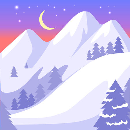 Beautiful landscape of high snowy white mountains and moon with bright stars on blue sky. Vector background with gray forest and hilly field. Among pitch grow fir trees, snowy hills scenery