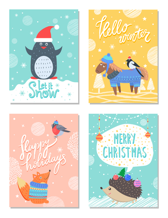 Let it Snow Hello Winter 60s Colorful Postcard