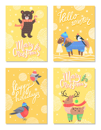 Hello Winter Merry Christmas 60s Theme Postcard