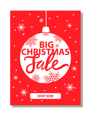 Big Christmas Sale Banner with Decorative Ball Stock Vector - 99780236