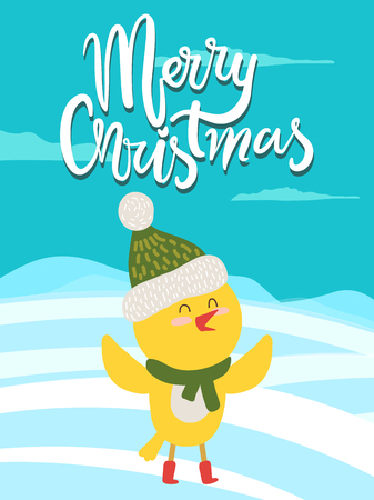 Merry Christmas Greeting Card with Yellow Chicken
