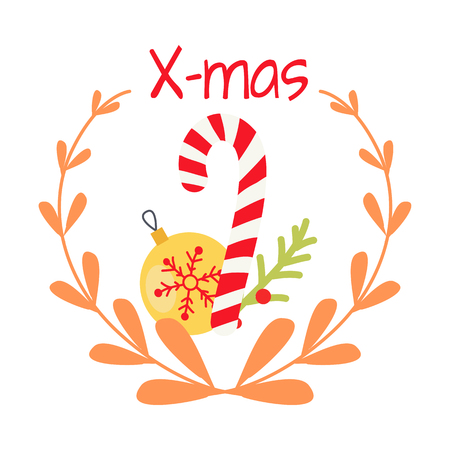 Beautiful Christmas Badge on White Background