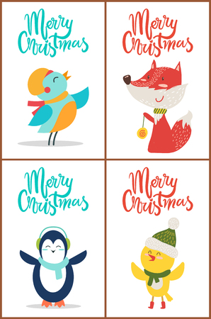 Merry Christmas Banners Set on Vector Illustration