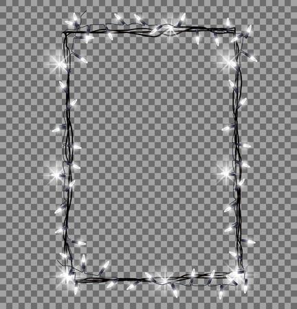 Square Frame Made of Christmas Lights Sparkling