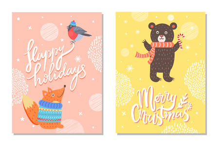 Happy Holidays Greeting Cards background design with a Squirrel, Bear and a Bird