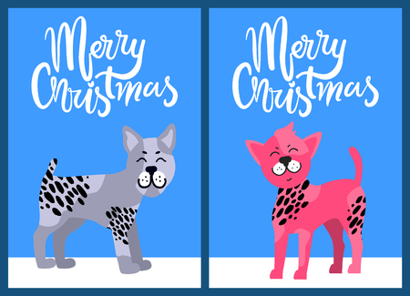 Christmas Postcards with Congratulation and Dogs background design Standard-Bild - 100464618