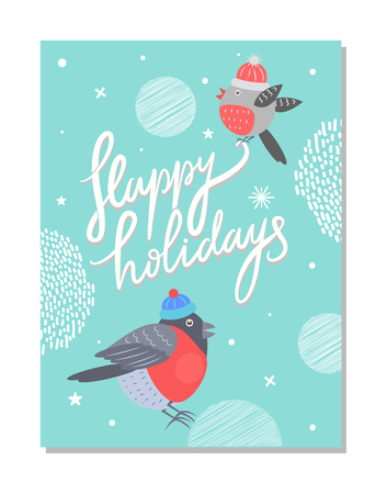 Merry Christmas and Happy Holidays 70s Postcard background design Illustration