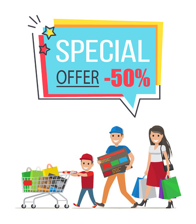 Special Offer with 50 Off Promotional Poster Stock Photo